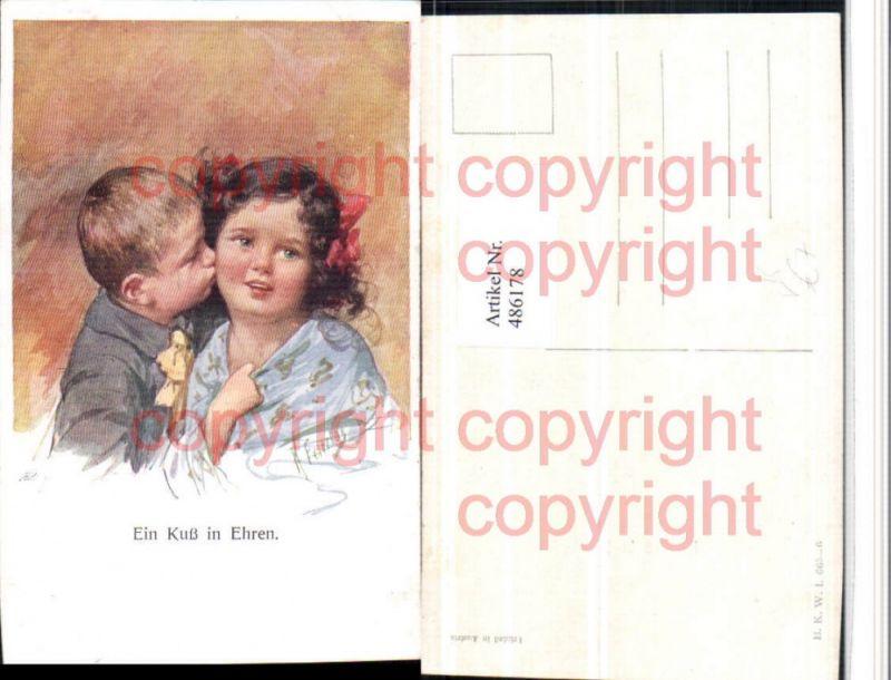 Künstler AK Karl Feiertag Ein Kuss in Ehren Kinder Liebe pub B.K.W.I. 665