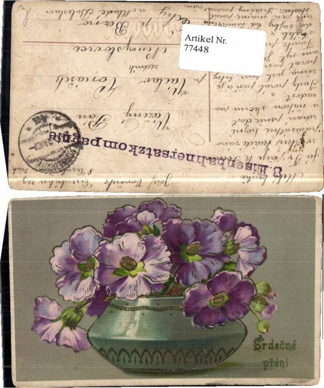 77448;Präge AK Blumen Vase Veilchen