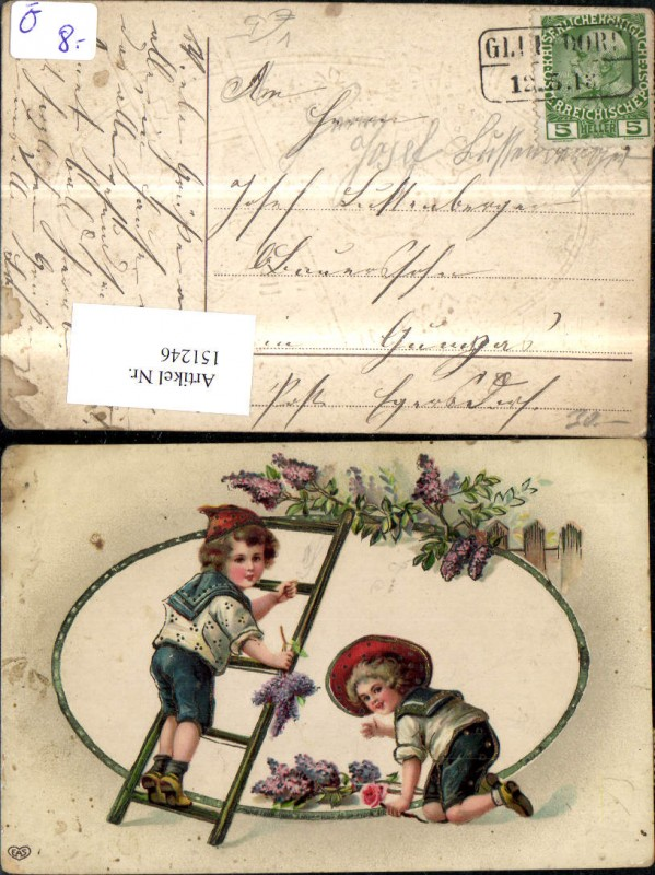 Namenstag Jungen i. Matrosenuniform Matrose m. Leiter Blumenranke Blumen