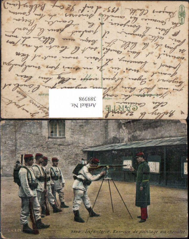 WW1 Infanterie Exercice de pointage au chevalet MG Maschinengewehr Waffen