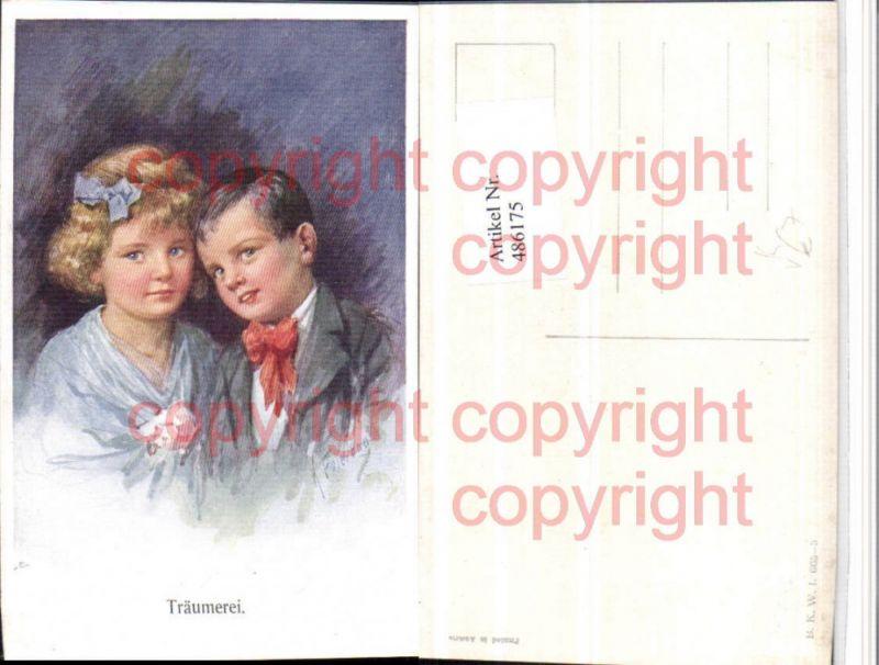 Künstler AK Karl Feiertag Träumerei Kinder Portrait pub B.K.W.I. 665/3
