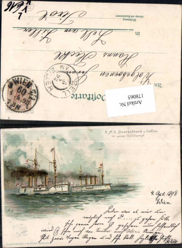 Tolle Litho SMS Deutschland unter Volldampf Marine Kriegsmarine pub Miesl