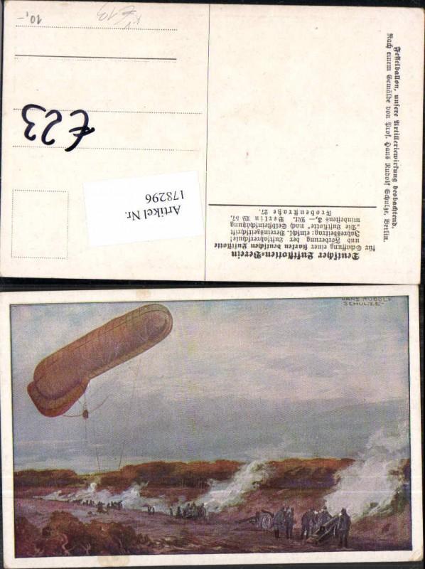 Künstler AK Hans Rudolf Schulze Fesselballon Ballon Artillerie Luftflotte