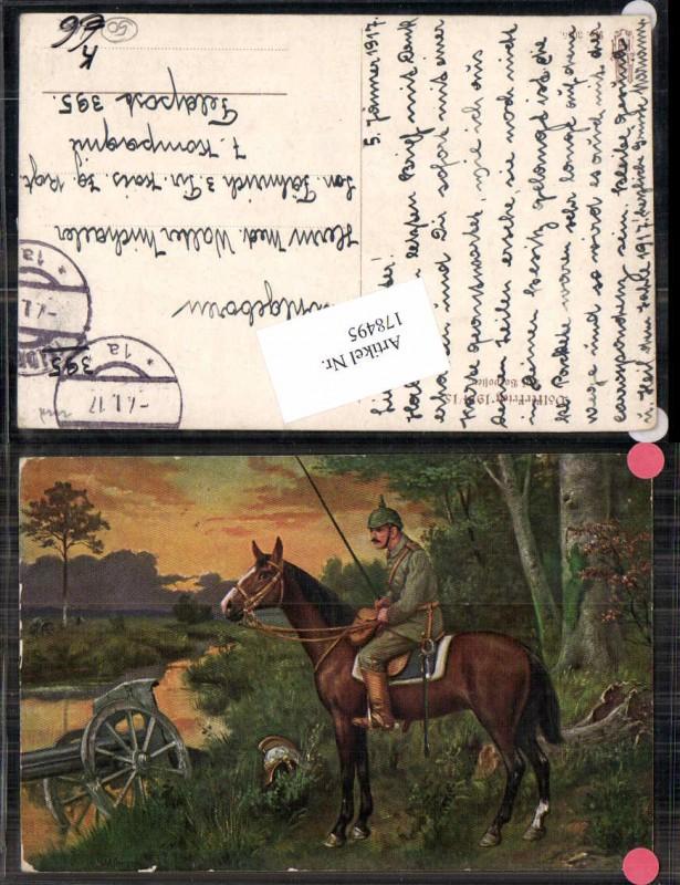 Künstler AK W. Willmann Soldat Kavallerie Pickelhaube Pferd Gefecht