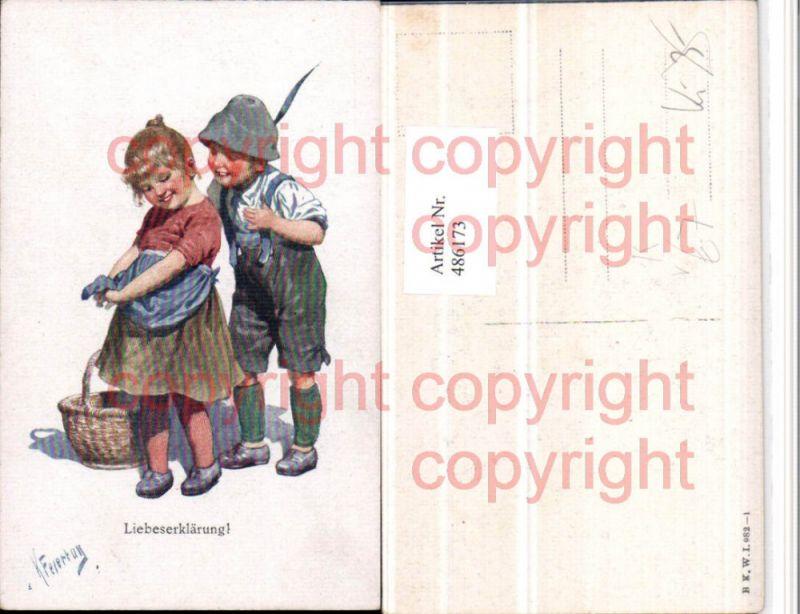 Künstler AK Karl Feiertag Liebeserklärung Kinder Liebe pub B.K.W.I. 982/1