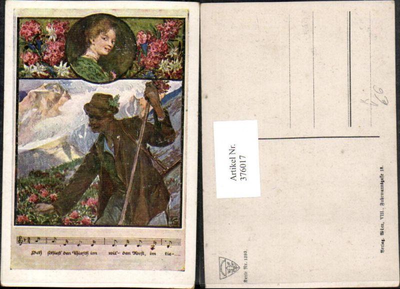 Deutscher Schulverein 1393 Künstlerkarte Mann Wanderer Frau Portrait Lied