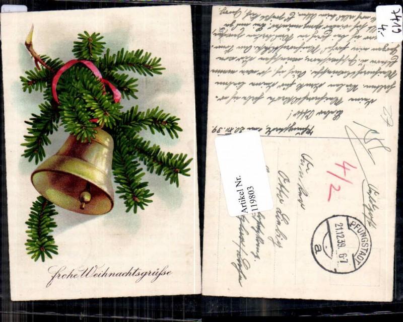 weihnachten glocke tannenzweige zweige litho nr 119803 oldthing gl ckwunsch gru festkarten. Black Bedroom Furniture Sets. Home Design Ideas