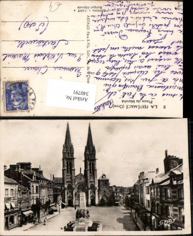 Basse-Normandie Orne La Ferte-Mace Place du Marche Platz Denkmal Kirche
