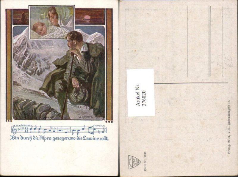Deutscher Schulverein 1239 Künstler W. H. Braun Mann Wanderer Lawine Lied