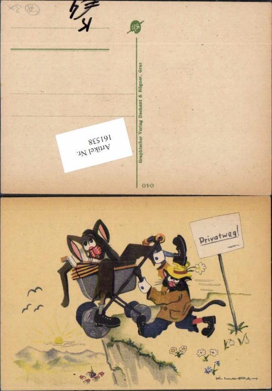 Scherz Humor AK Klapa sign. Mäuse Kinderwagen Dechant Rögner