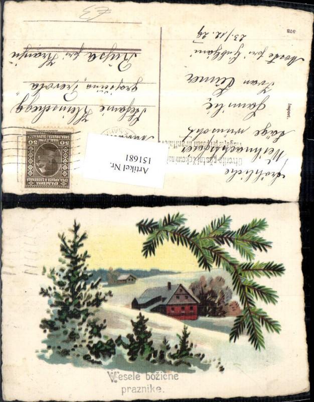weihnachten winterlandschaft haus tannenzweige nr 151681 oldthing gl ckwunsch gru. Black Bedroom Furniture Sets. Home Design Ideas