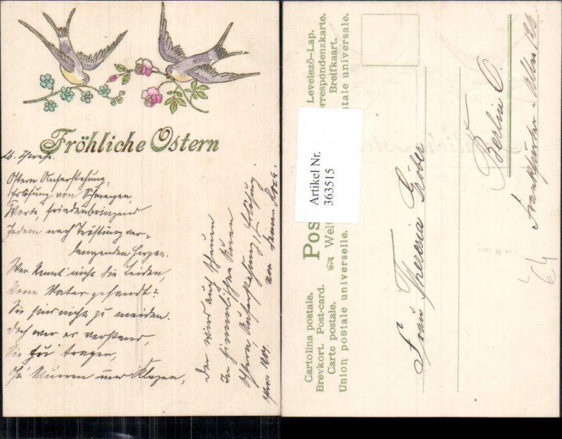 Präge Litho Ostern Schwalben Vögel Blumen Rosen