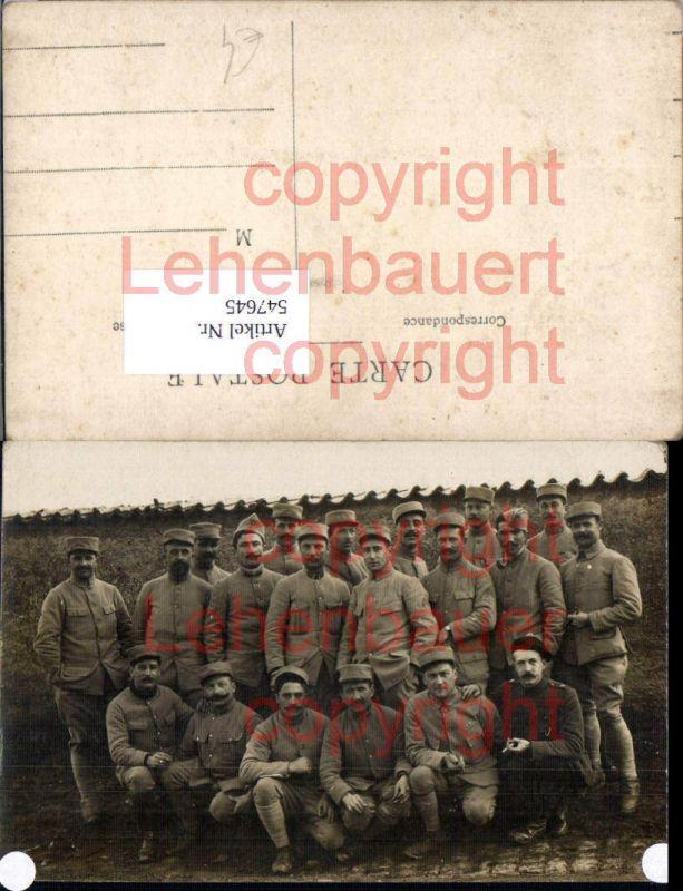 Französische Armee Soldaten Foto-AK Gruppenbild Zigarette