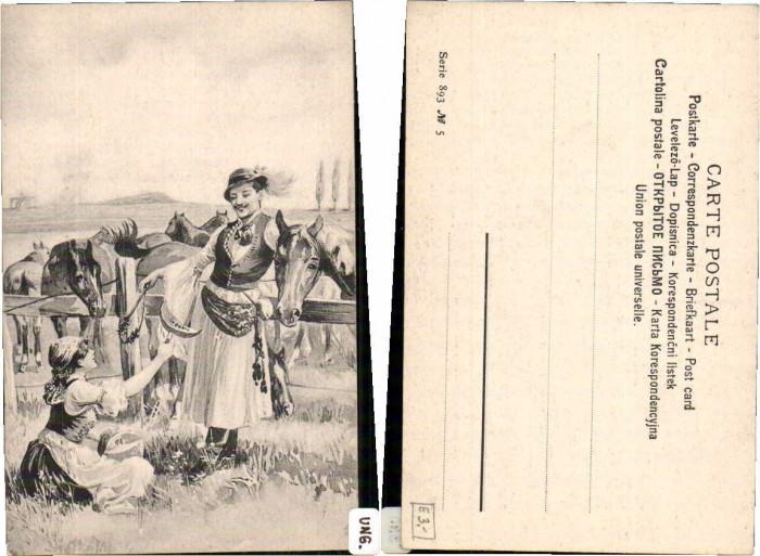 62686;Ungarische Trachten Bauern Pferde Ungarn