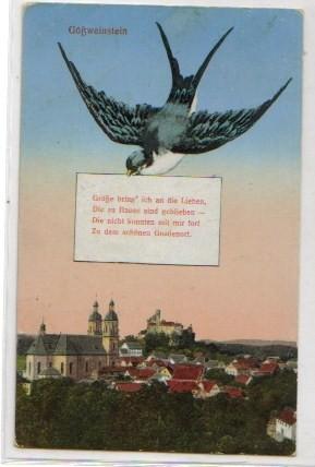 2528;Gößweinstein mit Taube um 1920**Forchheim *