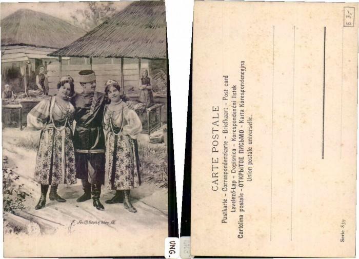 62687;Ungarische Trachten Bauern Markttag