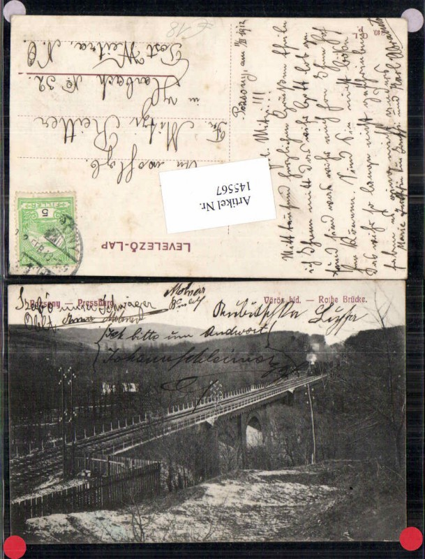 Pressburg Pozsony Rothe Brücke Eisenbahnlinie 1905