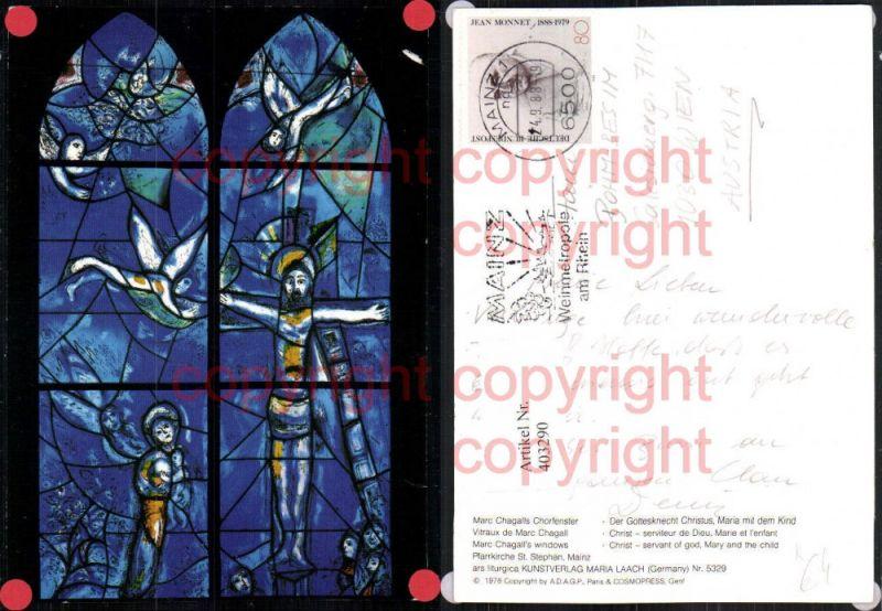 Künstler AK Marc Chagalls Chorfenster Gottesknecht Christus Maria mit dem