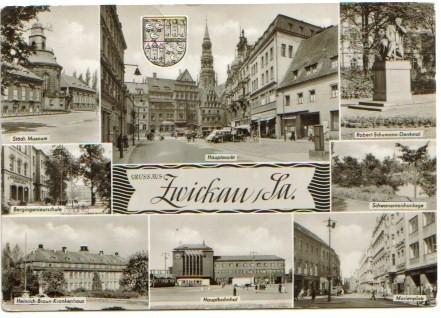 1835;Gruss aus Zwickau; Mehrbild Bahnhof Schule Museum