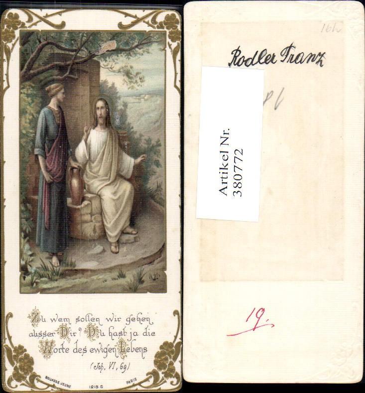 Andachtsbild Heiligenbildchen Jesus m. Frau Krug Spruch Präge Passepartou