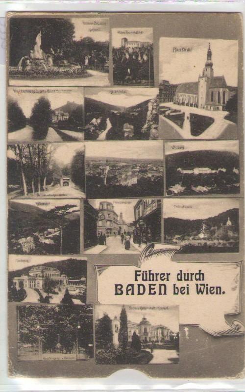 klappbare Leporello Führer durch Baden bei Wien 1915