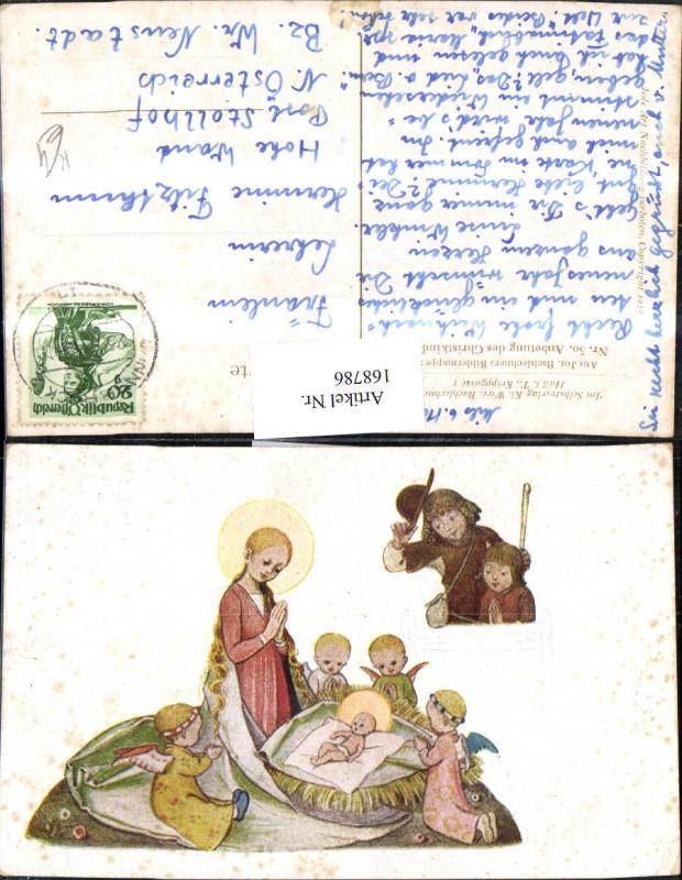 Weihnachten Künstlerkarte Jesus Krippe Engel beten Heiligenschein Nr ...