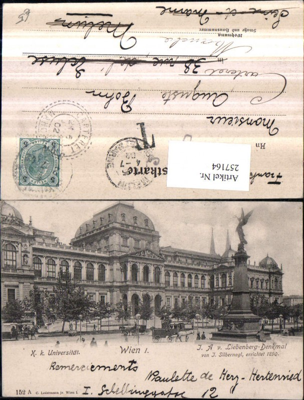 Wien 1 K. k. Universität m. Liebenberg-Denkmal