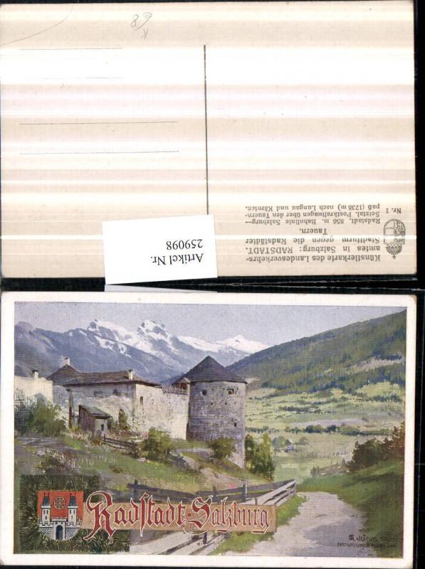 Künstler AK Fr. Jung Radstadt Stadtturm geg. d. Radstädter Tauern