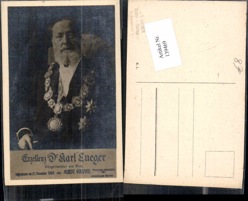 Exzellenz Dr Karl Lueger Bürgermeister von Wien