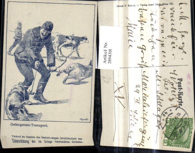 Künstler Ak WW1 Karikatur Gefangenen Transport Soldaten m. Schweinen u. K