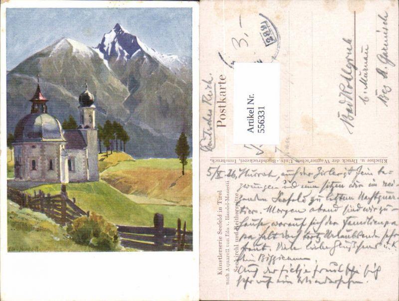 tolle Künstler AK Edo v. Handel-Mazzetti Seefeld in Tirol Reitherspitze K