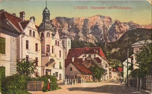 27336;Liezen Strassenpartie im Ort COLOR 1915