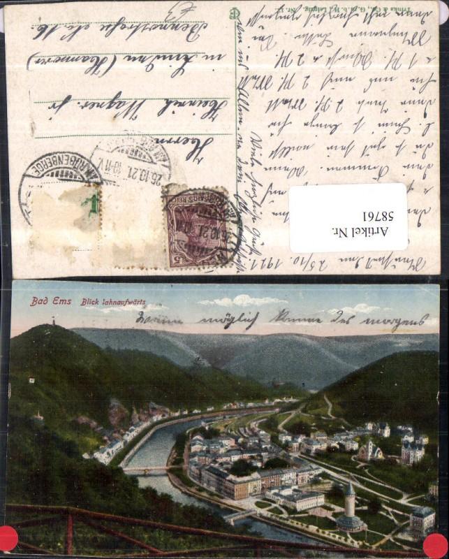 Bad Ems Blick lahnaufwärts Totale 1921