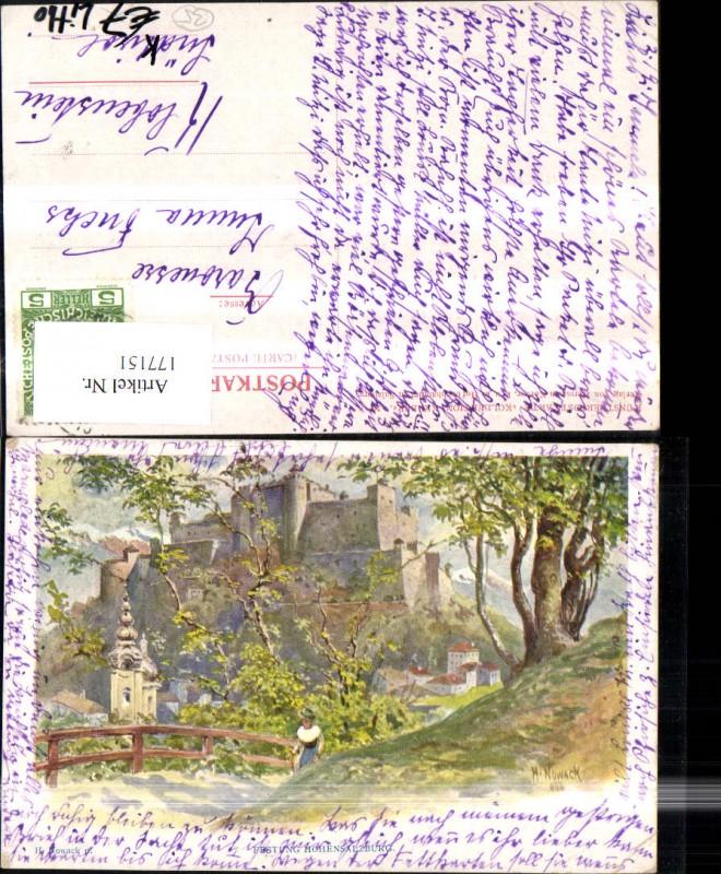 Salzburg Litho Festung Hohensalzburg Künstler Ak sign H Nowack