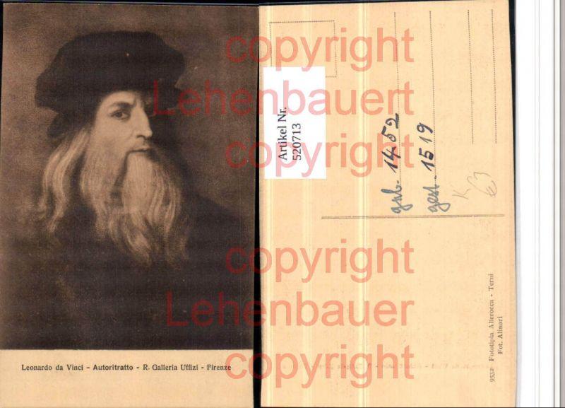 Künstler AK Leonardo da Vinci Autoritratto Mann Mütze Bart Portrait