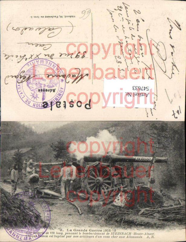 Französische Armee Artillerie Kanone Soldaten Steinbach Haute Alsace