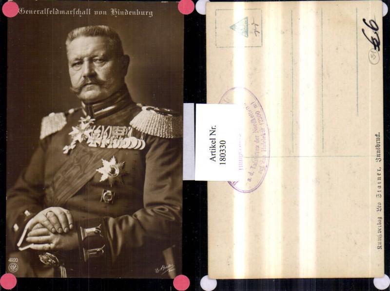 Generalfeldmarschall v. Hindenburg Portrait Eisernes Kreuz Abzeichen pub