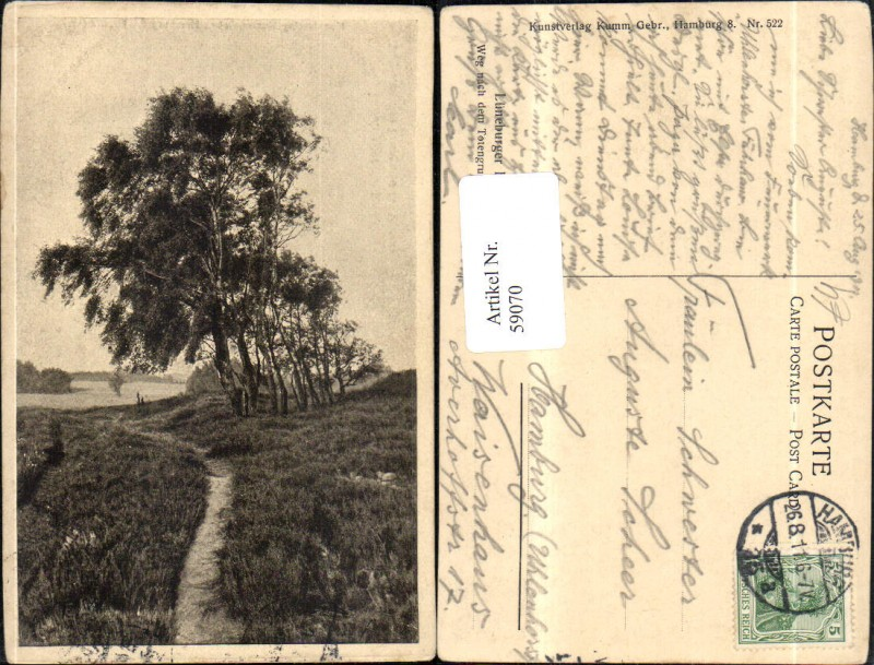 Lüneburger Heide Ansicht Weg n d Totengrund bei Wilsede 1911 Nr ...