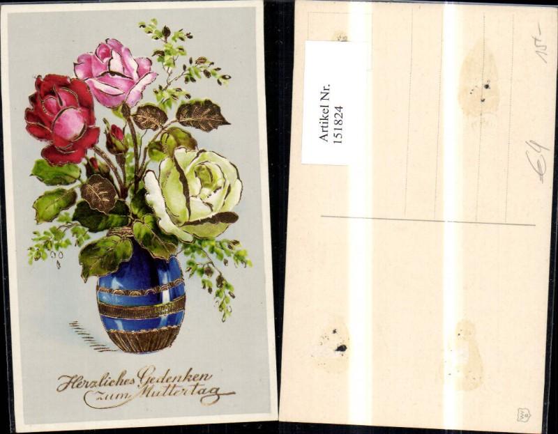 Muttertag Präge Ak Blumenvase Vase Blumen Rosen Goldverzierung