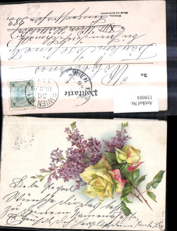 Litho Blumen Gelbe Rose Fliederzweig