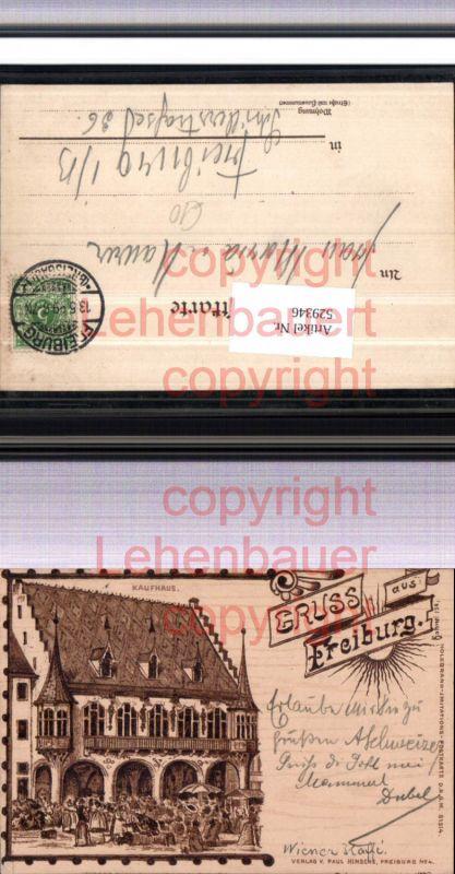Holzbrand Imitations Postkarte Gruß aus Freiburg  pub Hinsche