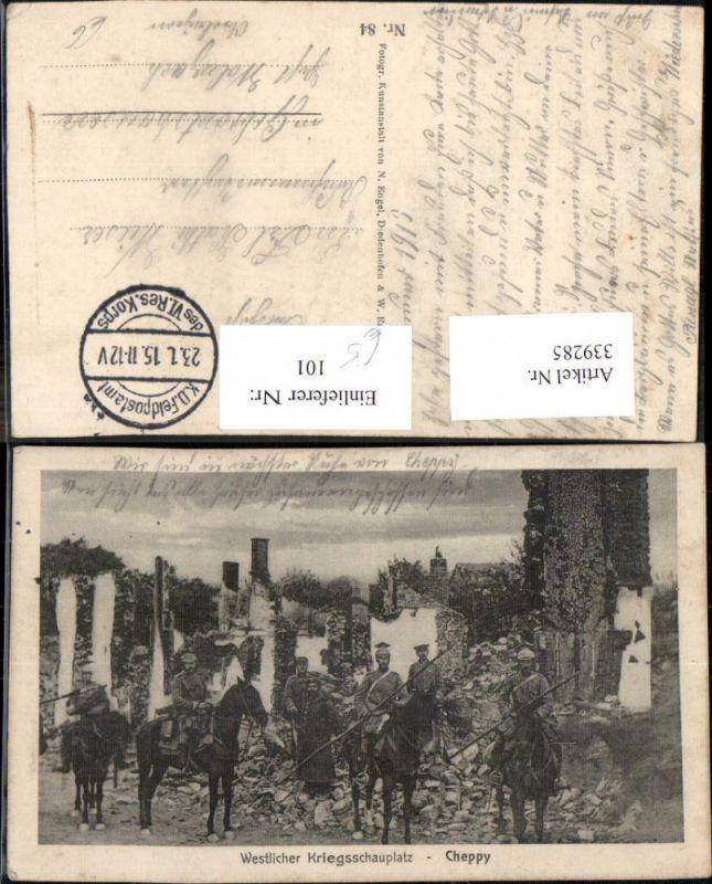 WW1 Westlicher Kriegsschauplatz Cheppy Soldaten Kavallerie