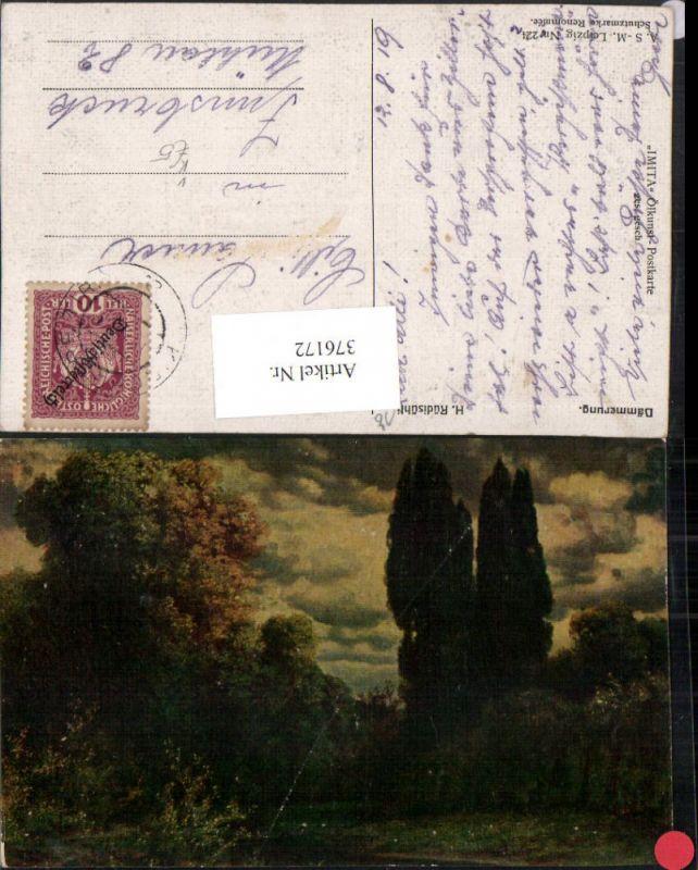 A.S.M. Imita 224 Künstler H. Rüdisühli Dämmerung Landschaft Wald