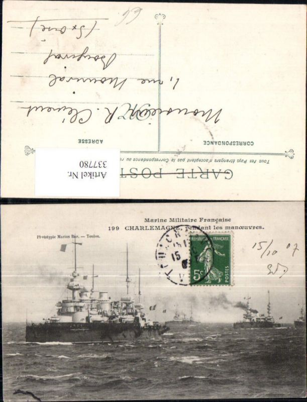 Schiff Kriegsschiff Marine Militaire Francaise Charlemagne