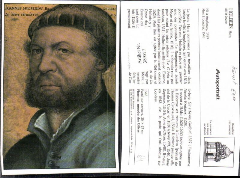 Repro Künstler Ak Hans Holbein dit le Jeune Autoportrait Deuxieme Renaiss