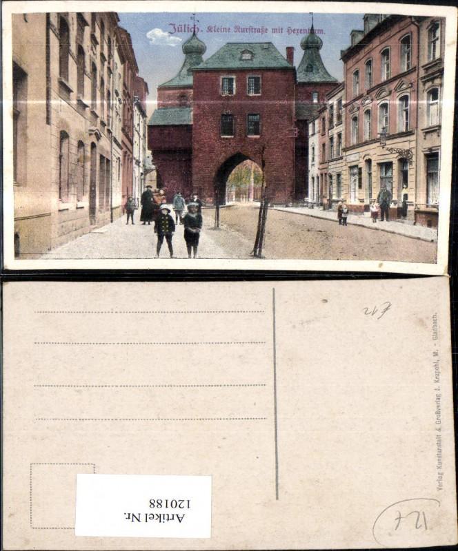 Jülich Kleine Kurstrasse m. Hexenturm Strassenansicht m. Kindern