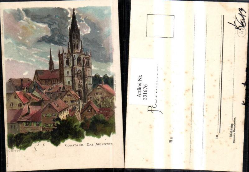 Künstler Litho C. Biese Constanz Konstanz Das Münster Kirche