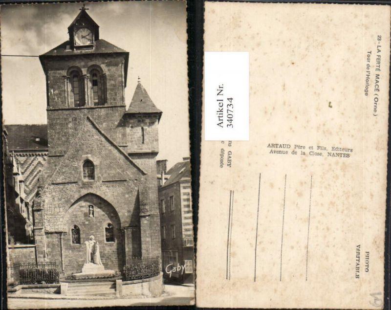Basse-Normandie Orne La Ferte Mace Tour de l'Horloge Turm Uhr Statue
