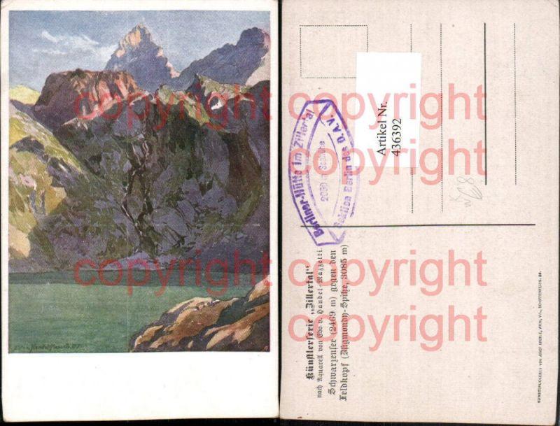 Künstler AK Edo v. Handel-Mazzetti Schwarzensee See b. Mayrhofen Bergkuli