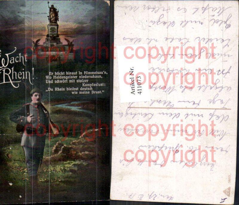 WW1 Soldat Uniform Die Wacht am Rhein Statue Spruch